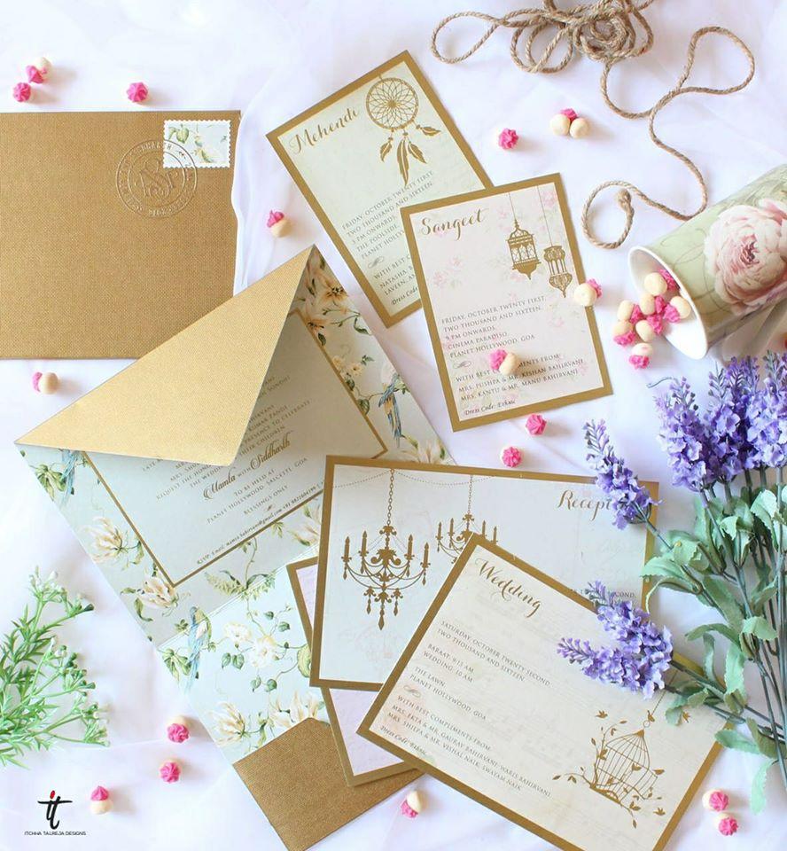 White & Brown Contemporary Wedding Card Invites