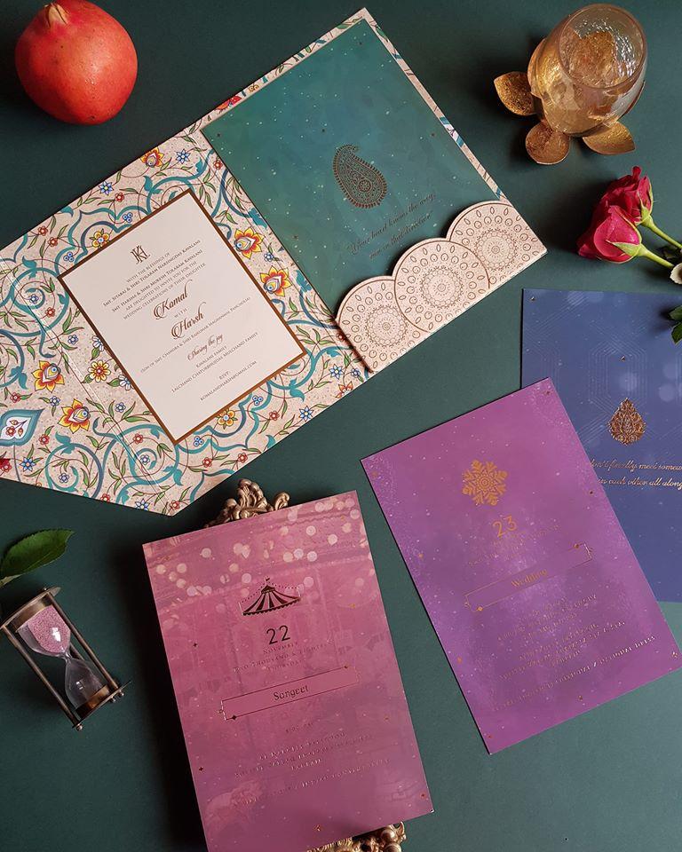 Multi Color Printed Wedding Card Invite