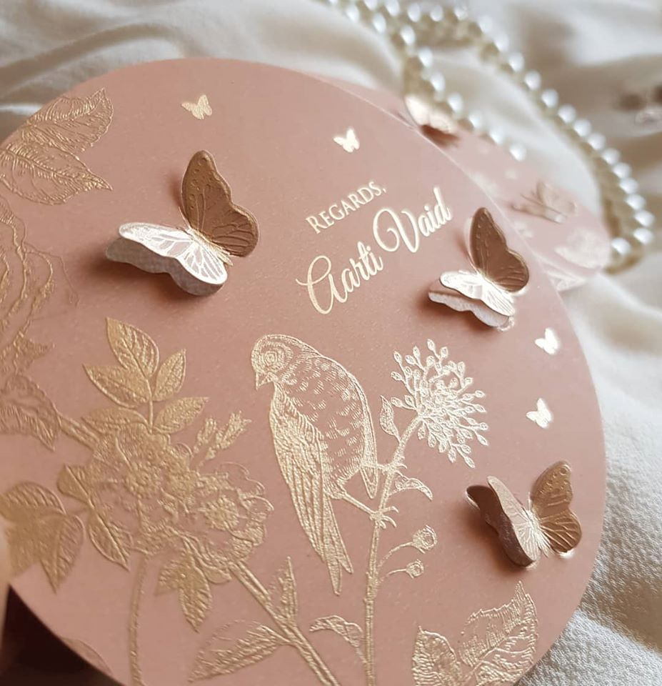 Blush Pink Gold Foil Butterfly Theme Wedding Invite