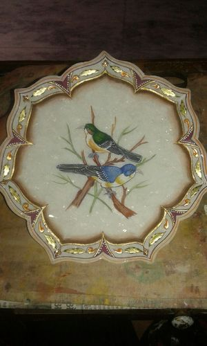Bird Painted Marble Plate