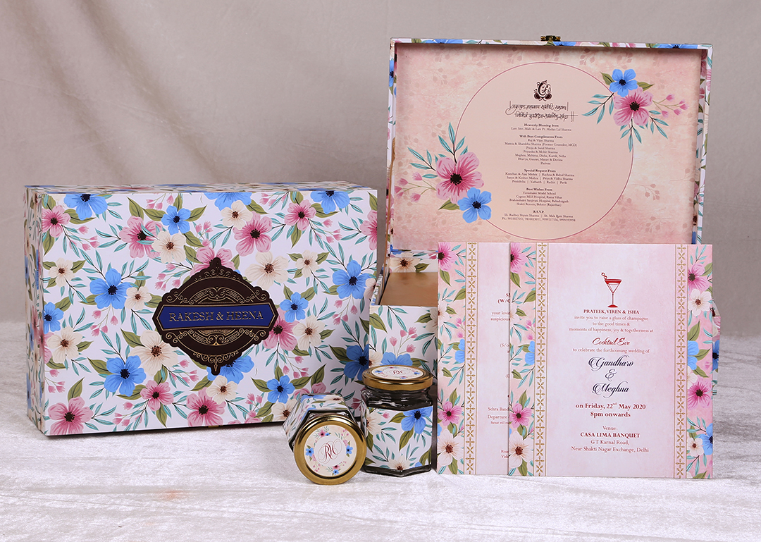 Blue & Pink Floral Printed Boxed Wedding Invitation