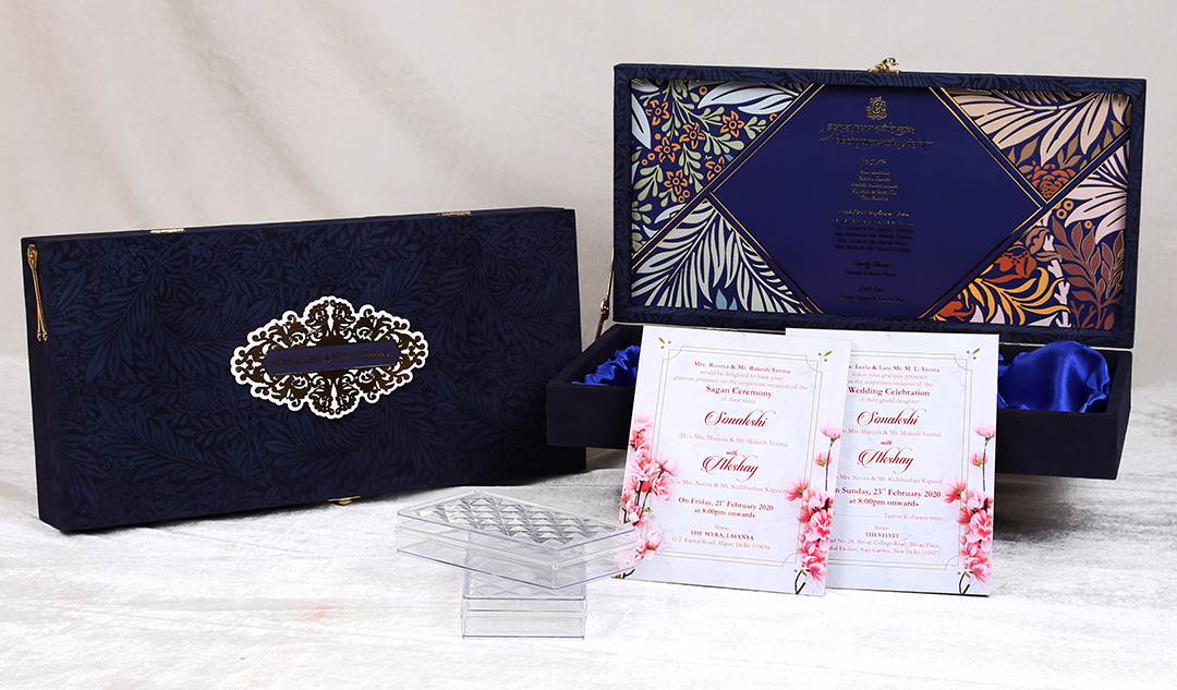 Royal Blue Floral Pattern Printed Boxed Wedding Invitation