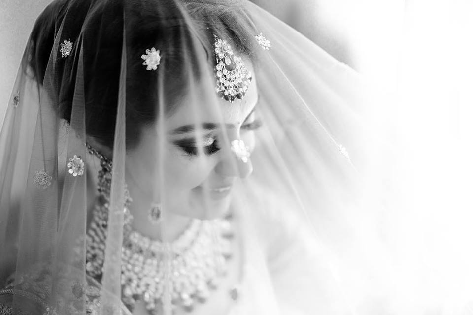 Black and White Shot of Bride under Veil