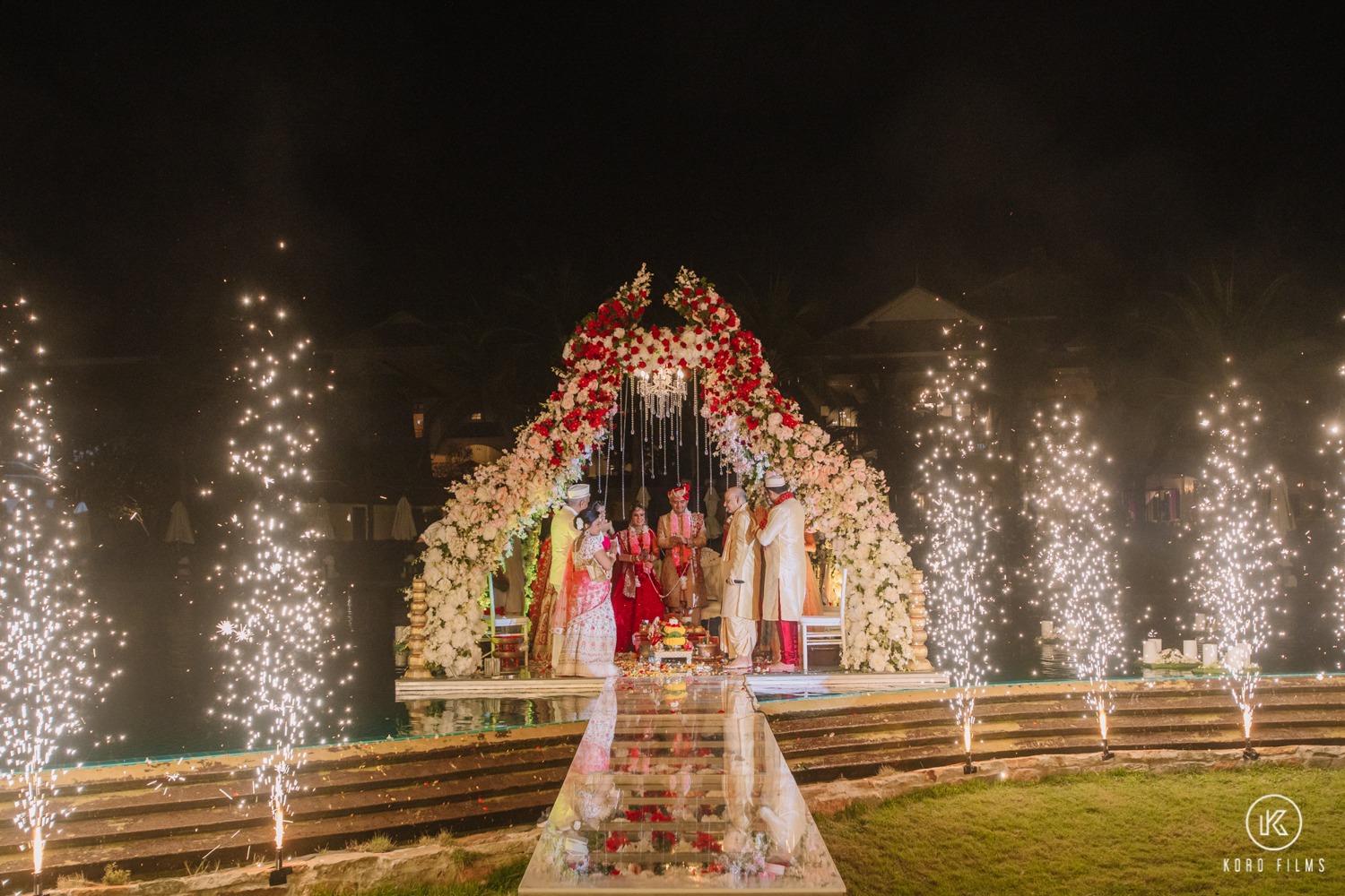 Indian Wedding Photography with Floral Mandap and Fireworks