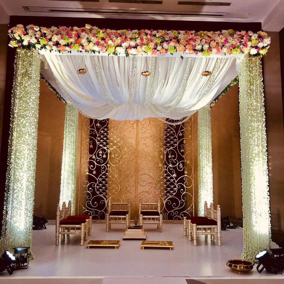 white floral mandap decoration idea