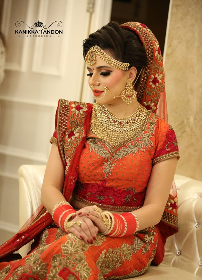Orange and Golden Lehenga Ideas