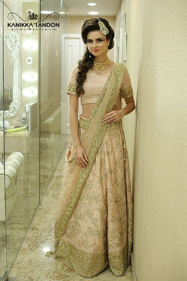 Pink and Golden Lehenga