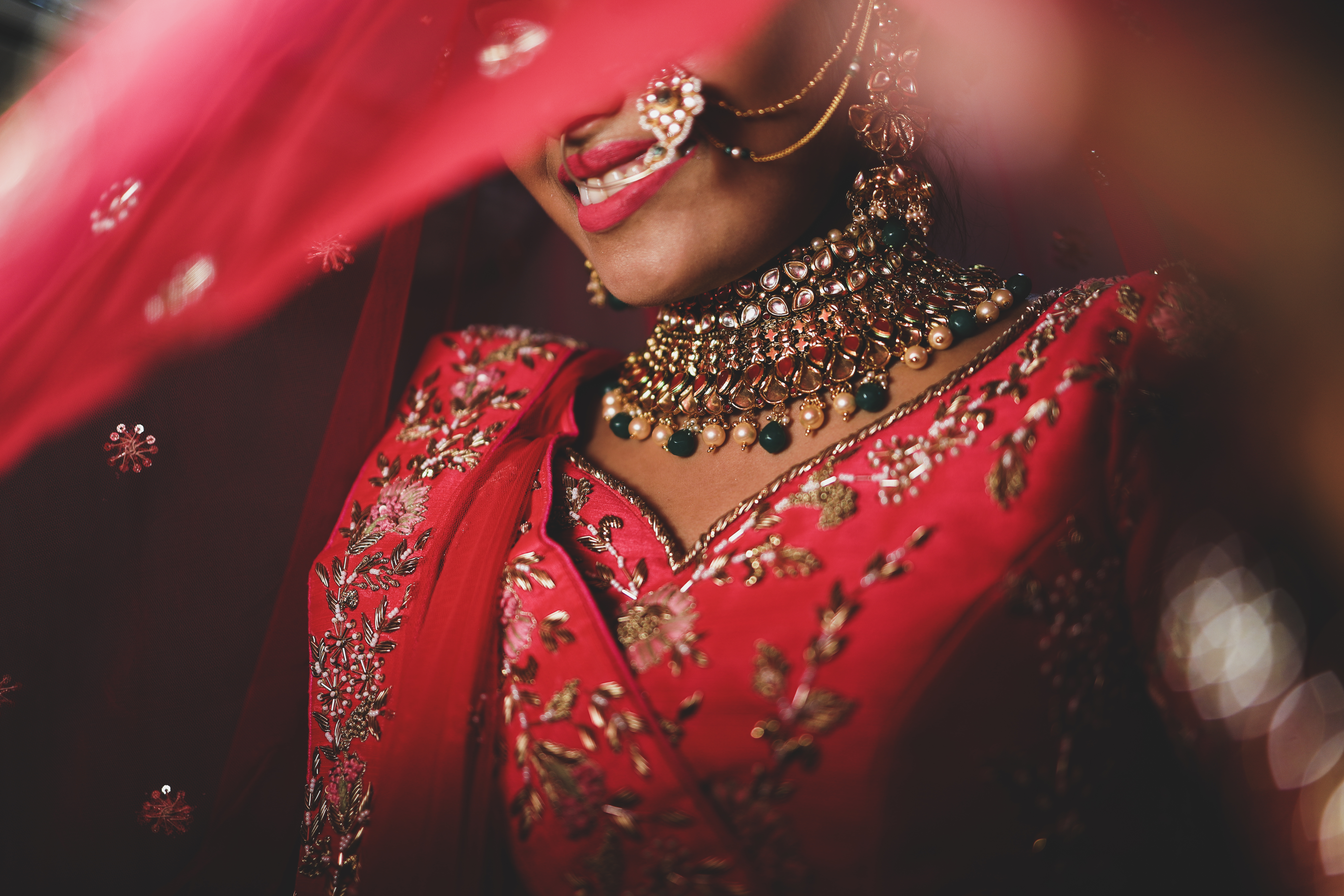 Bridal Portrait in Pink Bridal Lehenga