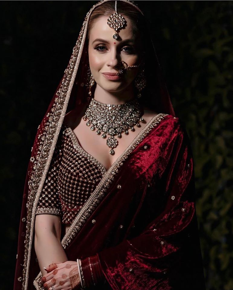 Western Bride in Red Velvet Lehenga