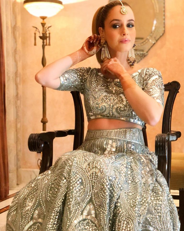 Shimmery Silver Lehenga for Engagement