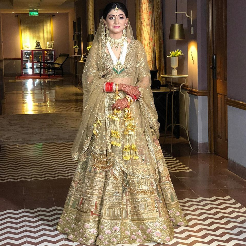 Golden Bridal Lehenga with Subtle Makeup