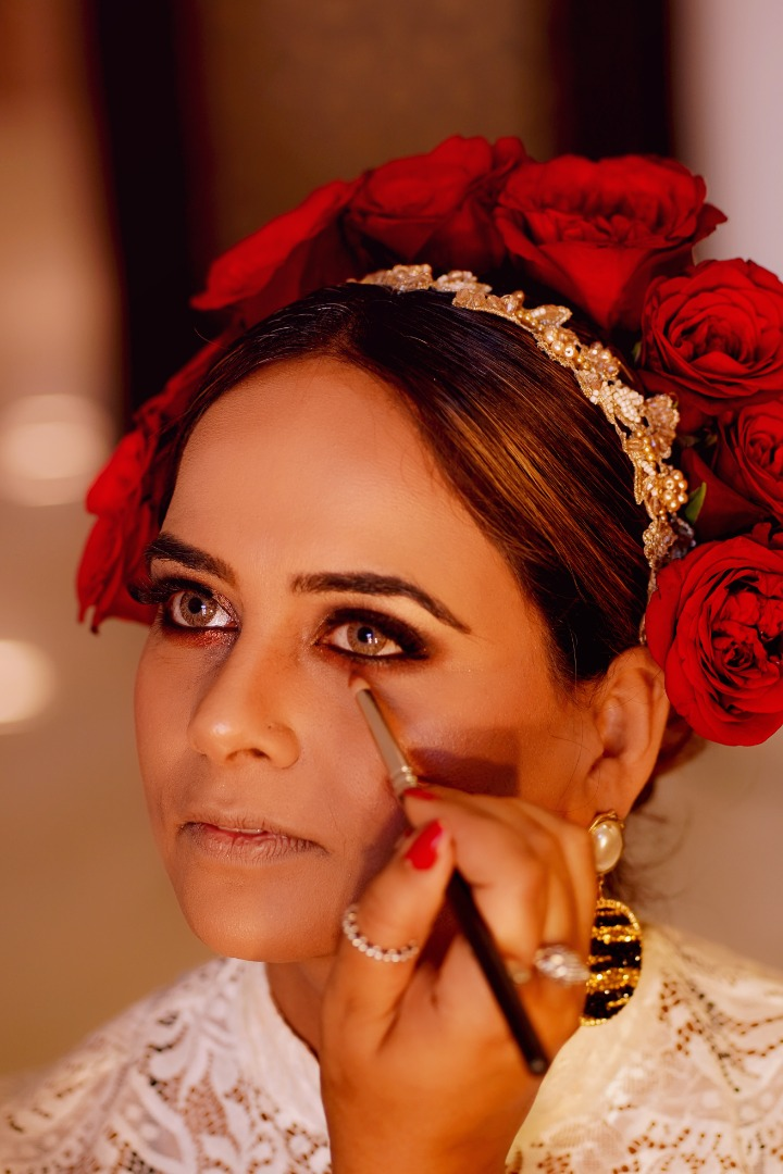 Dramatic Eye Makeup & Hairstyle with Red Roses
