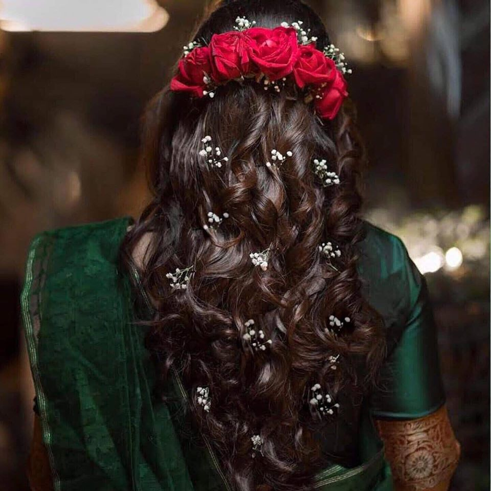 Open Soft Curls Hairstyle with Red Roses and Baby Breath Flowers
