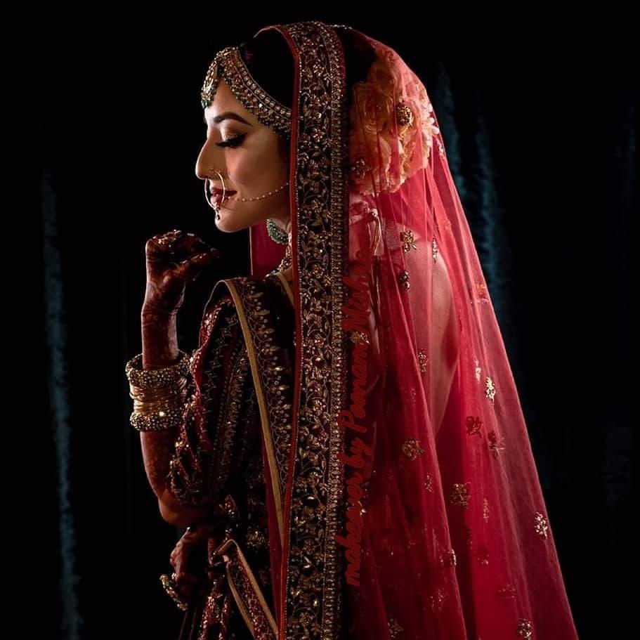 Briadal Makeup and Hair for Red lehenga