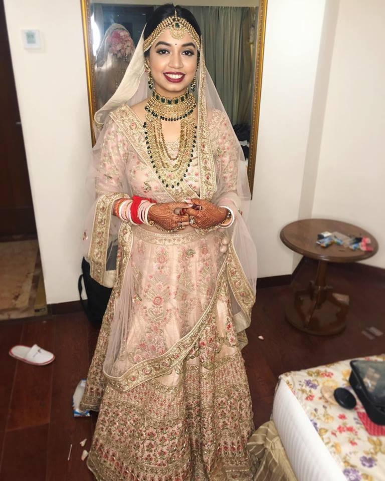 Bridal Makeup with offbeat White Lehenga