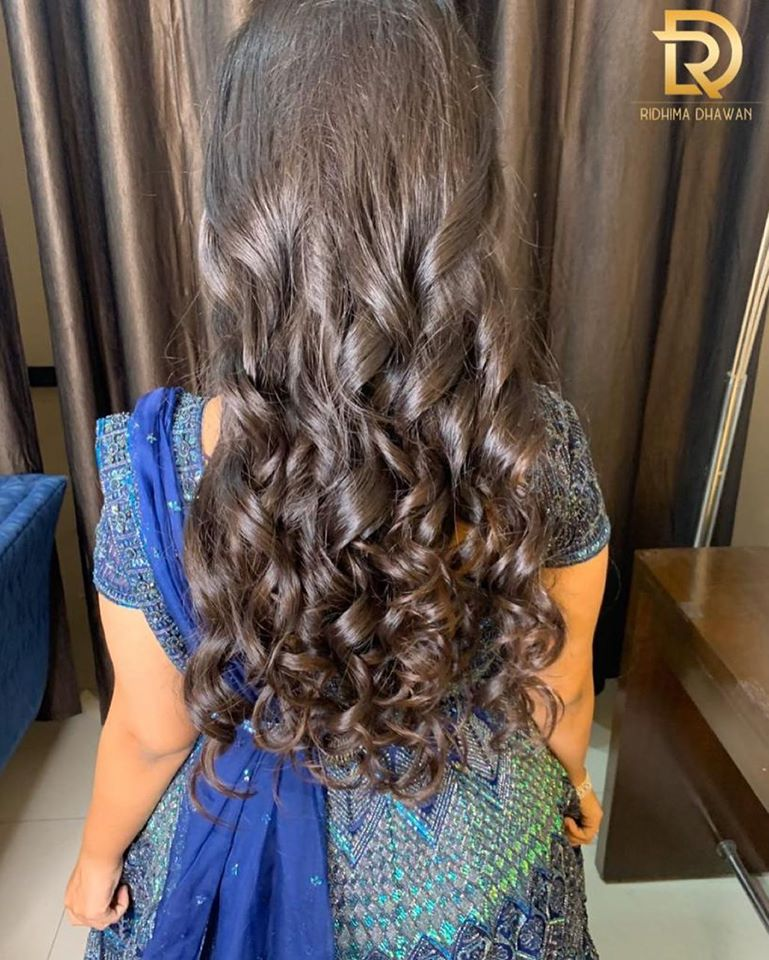 Long Curly Bridal Hairstyle