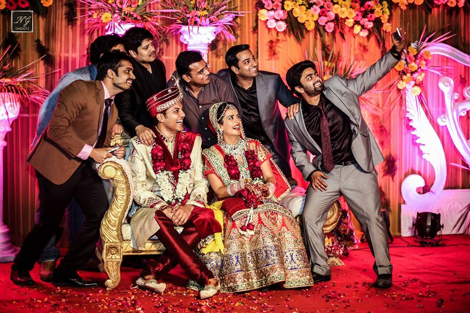 Candid Shot of Groom with her Friends