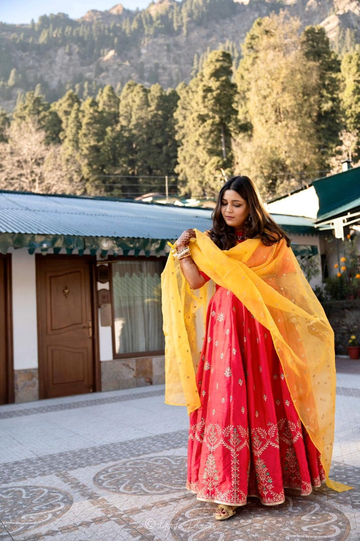 Beautiful Bride in Pink & Yellow Mehendi Outfit