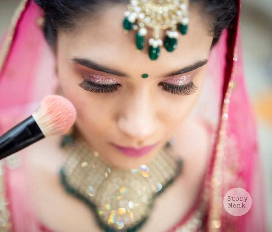 Bridal Makeup with Pink Glitter Eye shadow and Nude Pink Lips