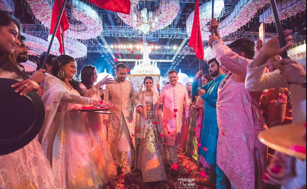 Grand Wedding Mandap Decor and Beautiful Bridal Entry Picture