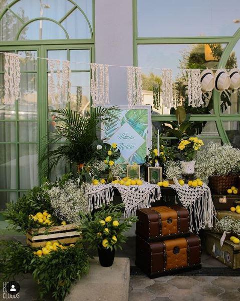 Green Tropical Theme & Lemons Mehendi Etrance Decor