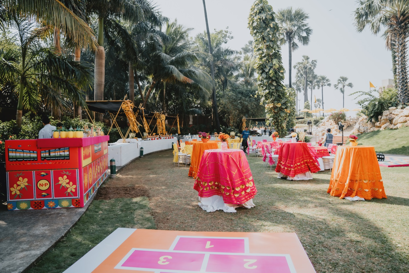 Open air wedding decorations