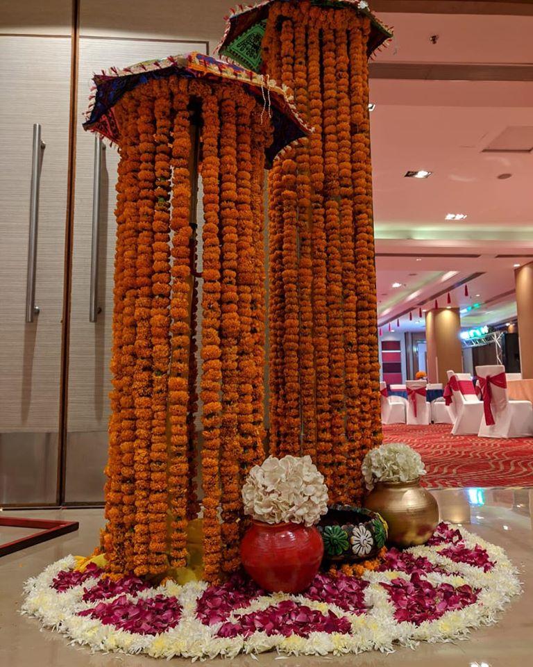 wedding decor puja morning