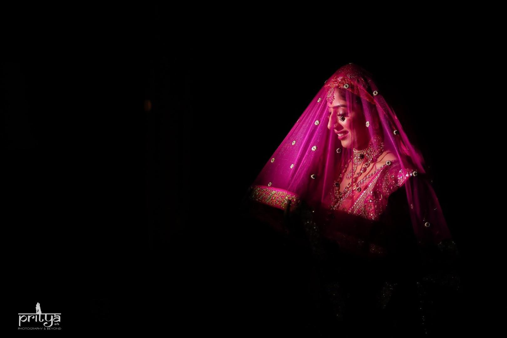 Bride Posing under her Veil