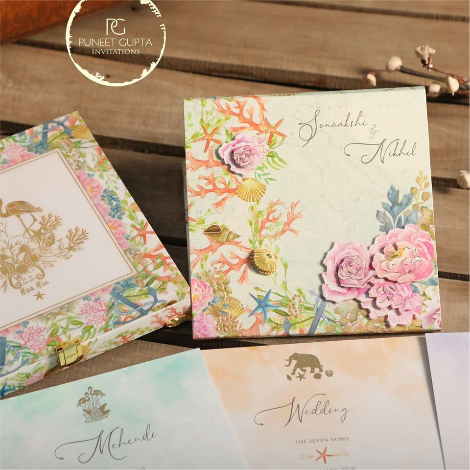 Beautiful 3D Floral Pastel Colored Box Type Wedding Invitation
