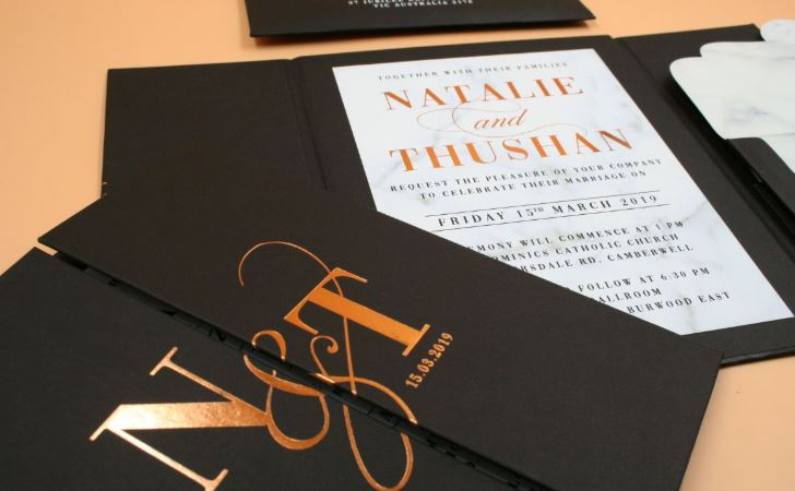 Black & White Simple Wedding Invite with Couple Logo in Gold