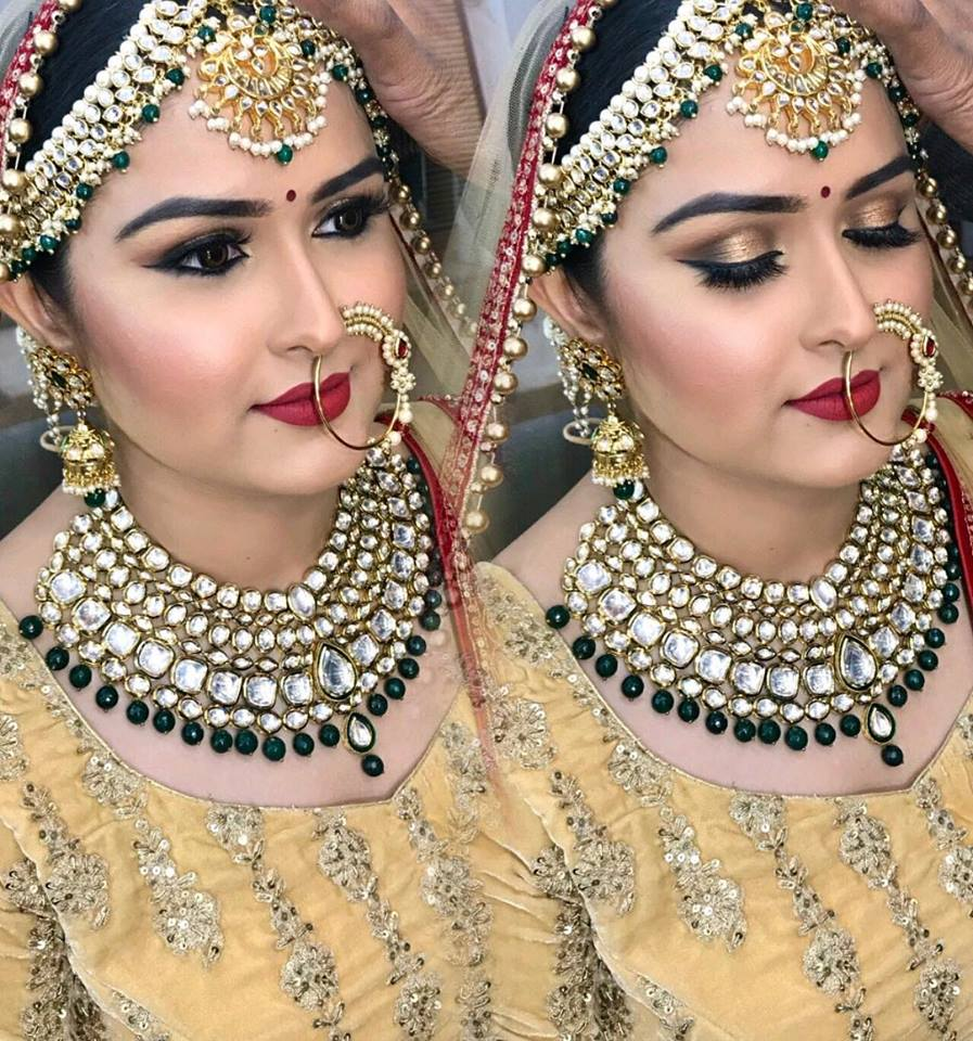 Eye Makeup with Yellow Colored Lehenga