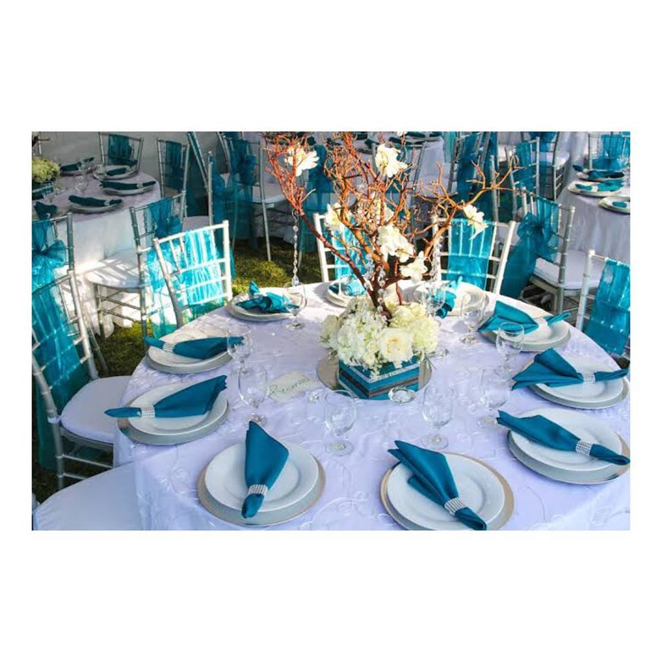 Blue and White Theme Table Decoration