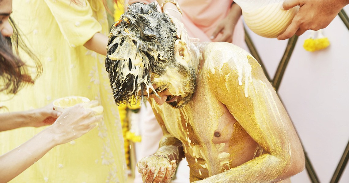 Candid Shot from Haldi Ceremony of Groom