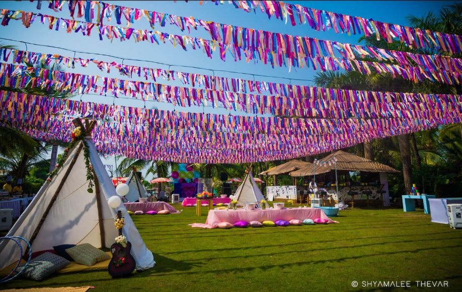 Colorful Wedding Brunch Decor with Canopies & Colored Cushions