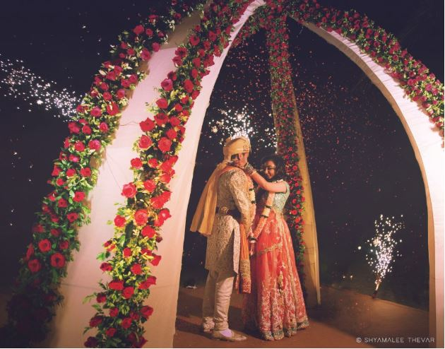 Contemporary Red Rose Mandap Decor