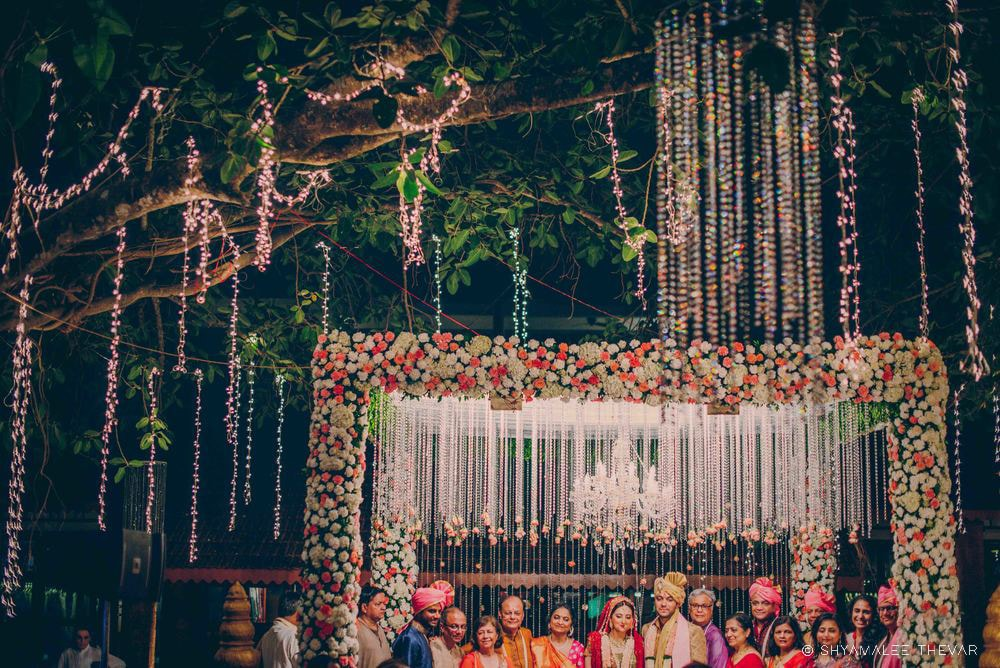 Beautiful Floral Theme Mandap with Crystal Hangings