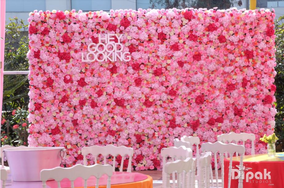 Pink Flower Wall Photo Backdrop