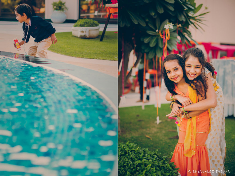 Kids Posing near Pool at a Color Filled Mehendi Ceremony