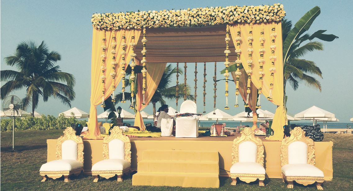 Yellow Theme Indian wedding Mandap Decor