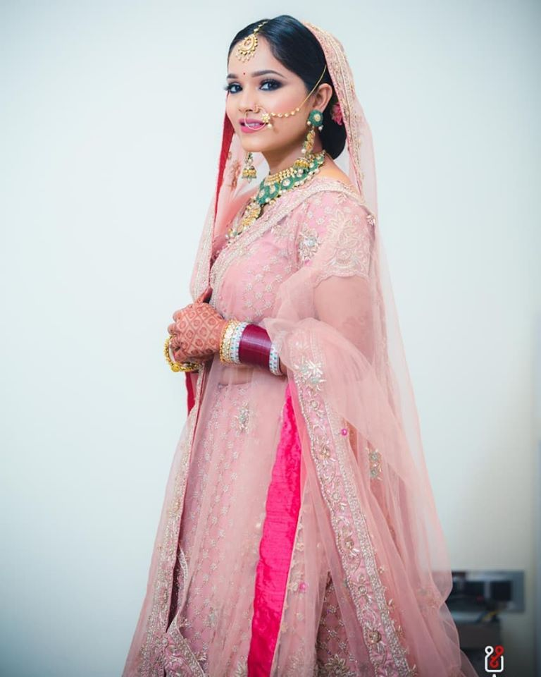 Beautiful Bridal Portrait Picture in Blush Pink Wedding Attire