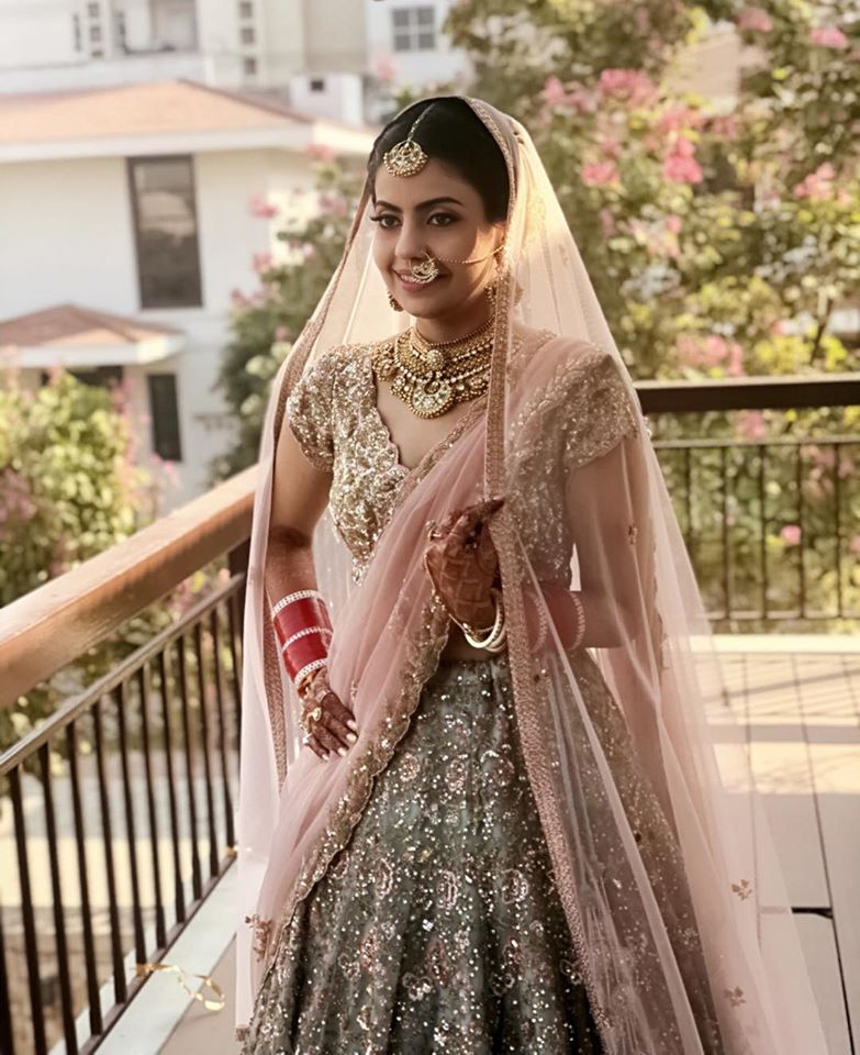 Green and Golden Bridal Lehenga