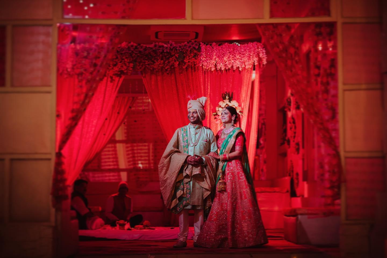 Peach and Green Bridal Lehenga