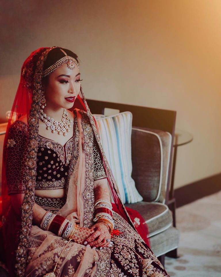 North Eastern Bride with Red Velvet Lehenga