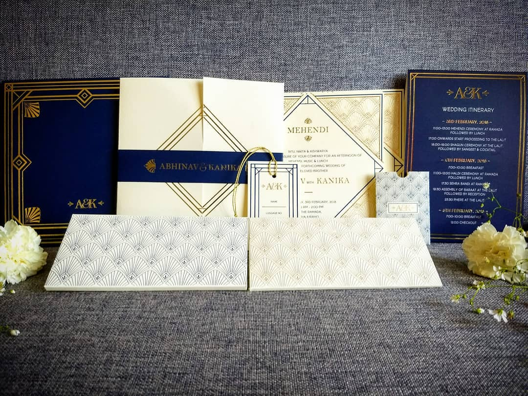 Royal Blue & White Gold Foil Printed Wedding Invitation Card.