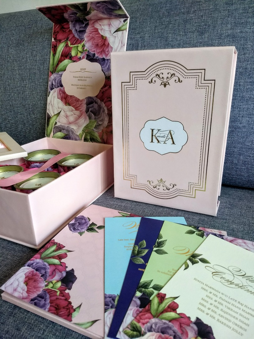 Multi Color Floral Weddings Cards in a Box with Couple Logo