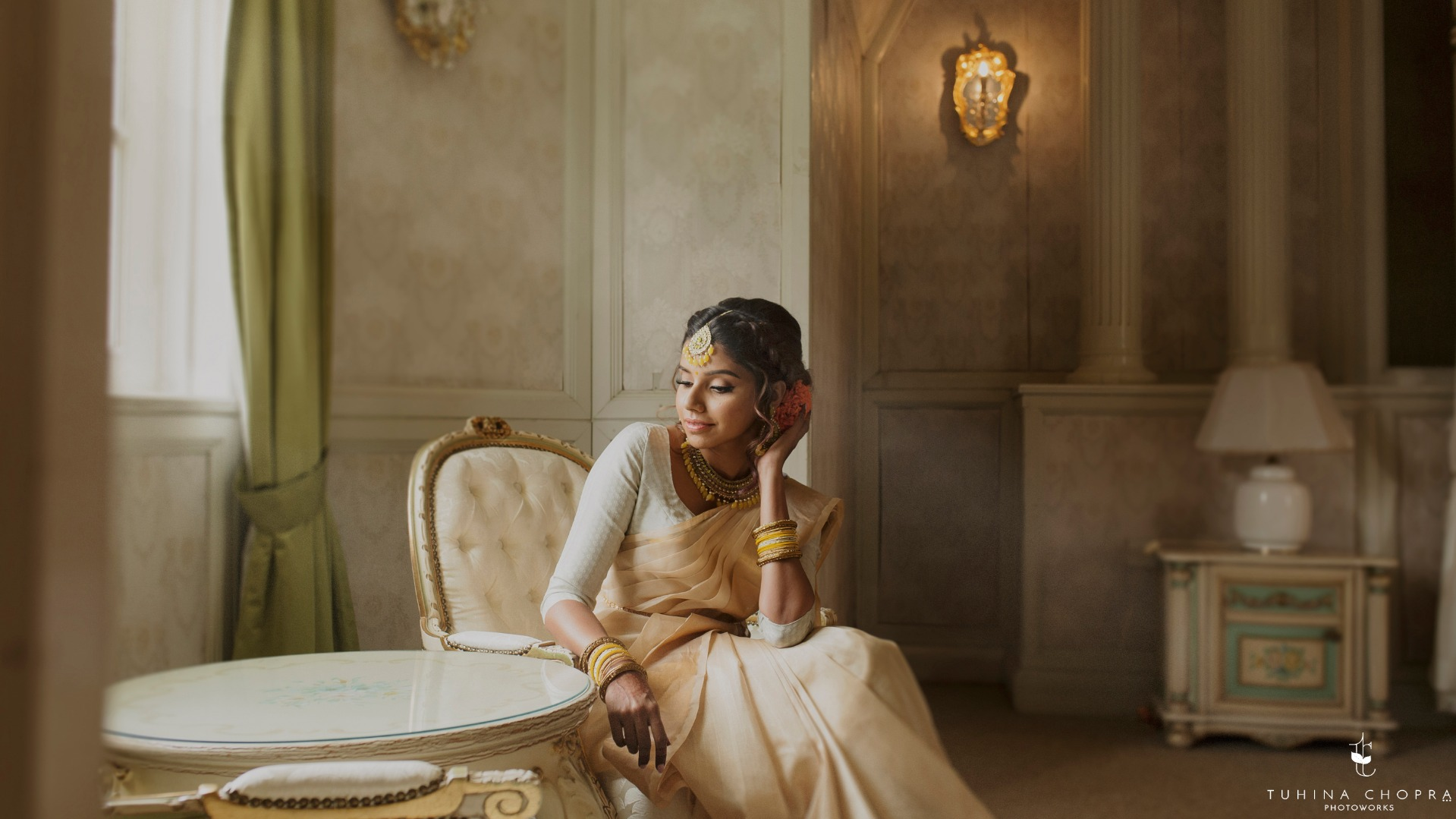 Pre-wedding photoshoot of traditional Indian bride