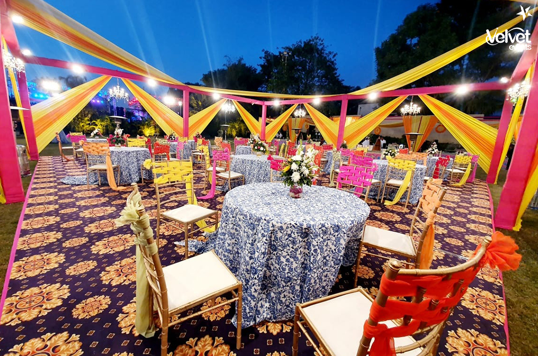 Colorful Draped Seating Decor