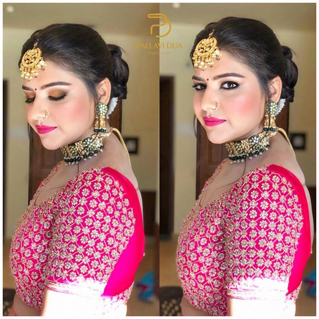 Pink bridal lehenga hair and makeup