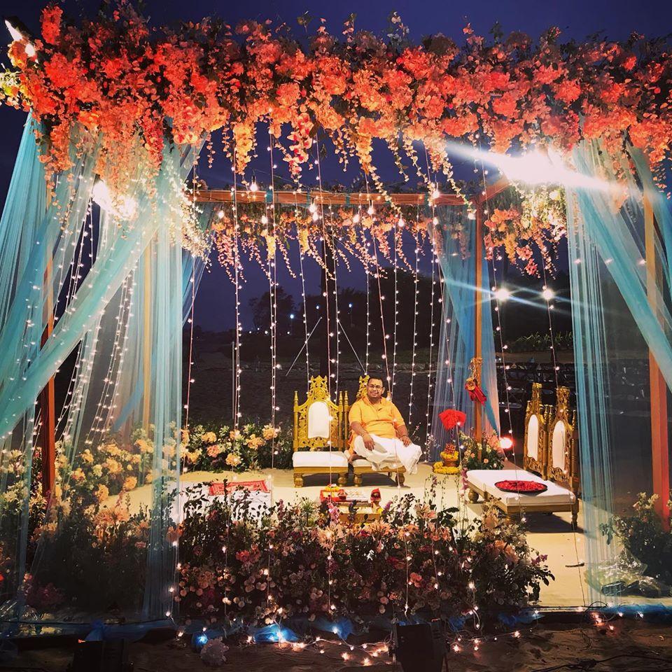 Indian beach wedding mandap