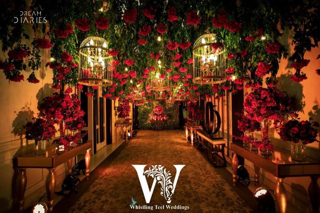 Beautiful entry decoration with the roses